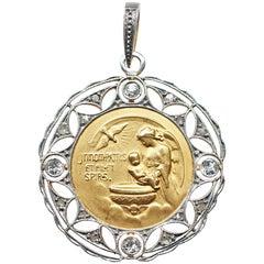 Edwardian Platinum 18 Karat Gold Diamond Angel and Baby Jesus Pendant