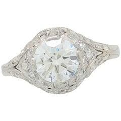 1.18ct Natural Round Brilliant Cut Platinum Diamond Estate Engagement Ring SI2/H