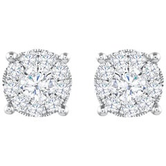 1.29 Carat Total Diamond Cluster Stud Earrings