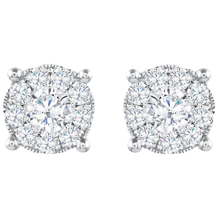 1.29 Carat Total Diamond Cluster Stud Earrings