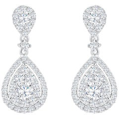 Pear Shape Diamond Cluster Dangle Earrings