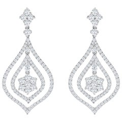 3.76 Carat Total Diamond Open Work Chandelier Earrings