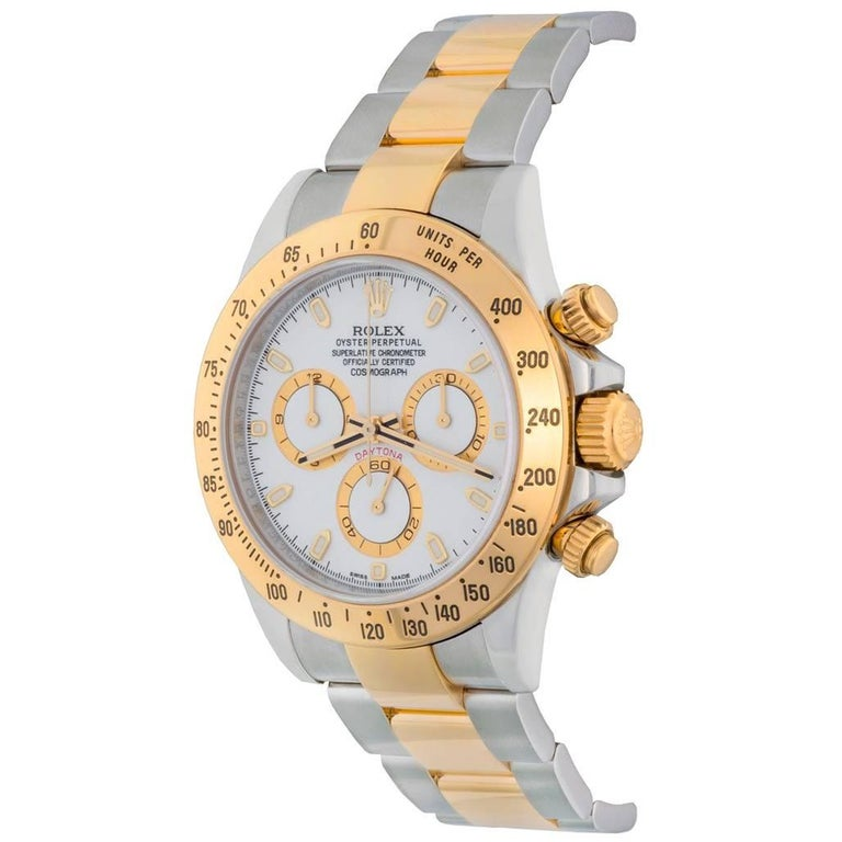 Rolex Yellow Gold Stainless Steel Daytona White Dial Automatic Wristwatch