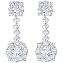 1.60 Carat Total Diamond Cluster Dangle Earrings