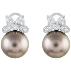Black Tahitian Pearl and Diamond Omega Clip Earrings
