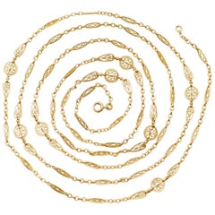 French Belle Epoque 18 Karat Gold Long Chain