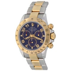 Rolex Yellow Gold Stainless Steel Daytona Blue Dial Automatic Wristwatch