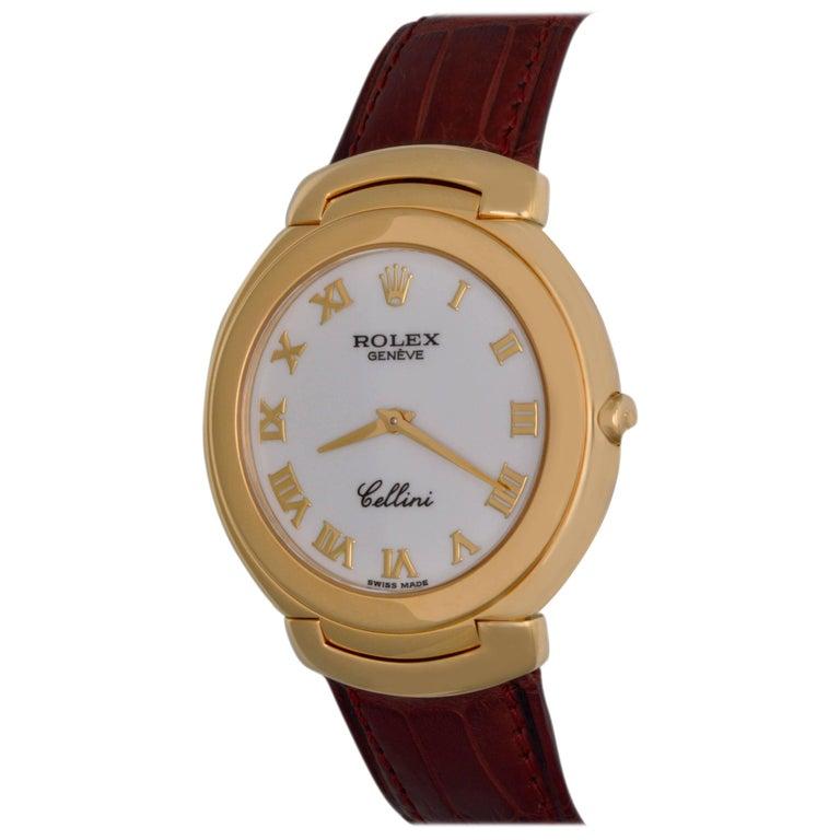 Rolex Yellow Gold Cellini White Dial Quartz Wristwatch Ref 6623/8