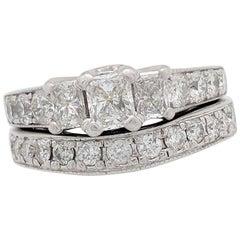 14 Karat White Gold Radiant Cut Three-Stone 2.15 Carat Diamond Engagement Ring