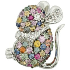 "18 Karat Diamond and Multicolored Sapphire ""Mouse"" Brooch"