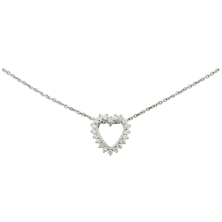 Classic Diamond Heart Necklace in White Gold For Sale