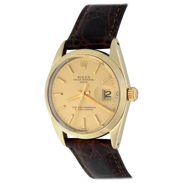 Rolex Yellow Gold Date Automatic Wristwatch Ref 1550