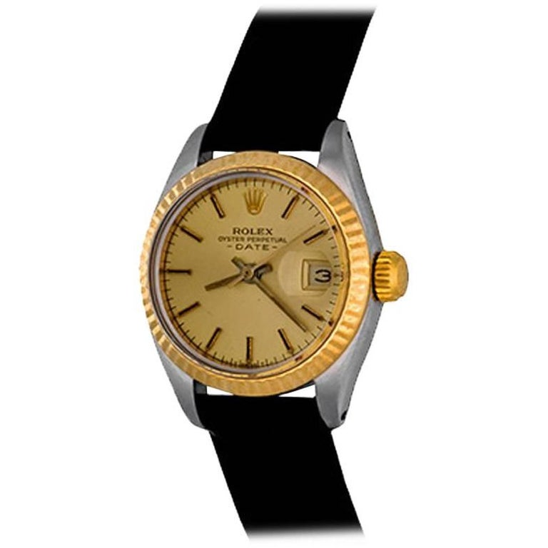 Rolex Yellow Gold Stainless Steel Date Automatic Wristwatch Ref 6917