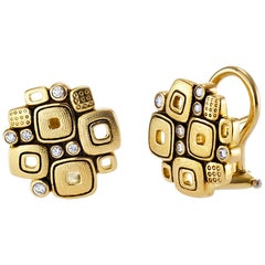 Alex Sepkus Gold and Diamond Little Windows Earrings