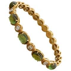 Italian Tourmaline Diamond Gold Stretch Cuff Bracelet