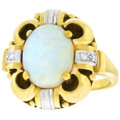Art Deco Opal and Diamond Set Ring