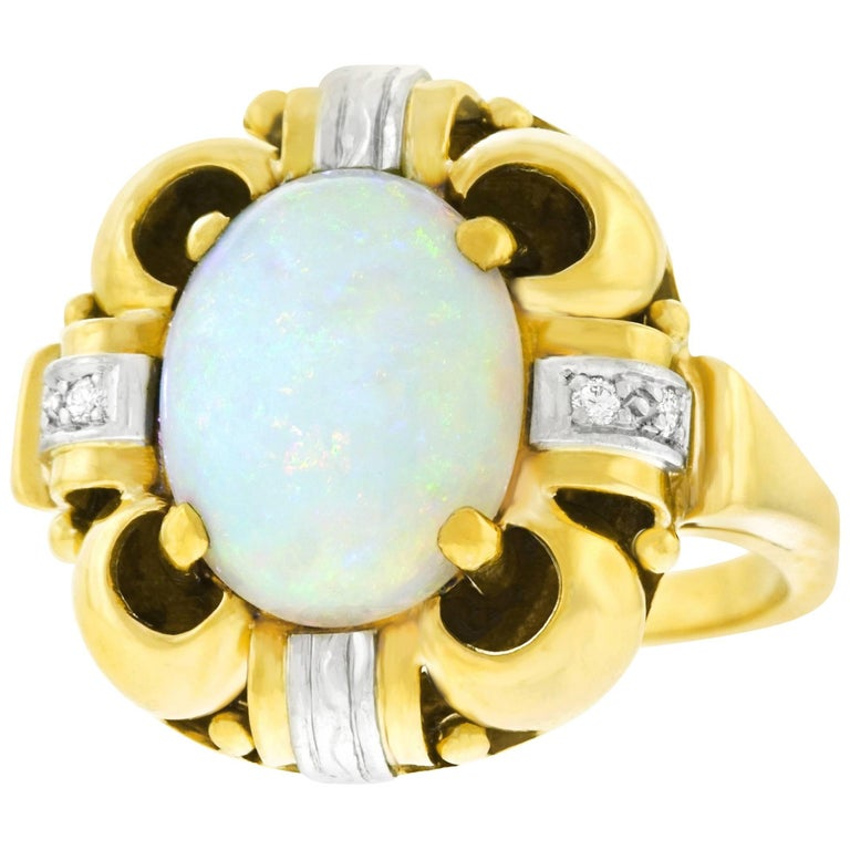 Art Deco Opal and Diamond Set Ring For Sale