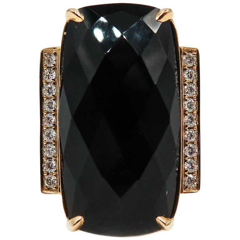 Checker Cut Black Onyx Diamond Ring