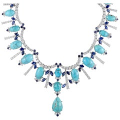 Turquoise Sapphire and Diamond Gold Collar Necklace