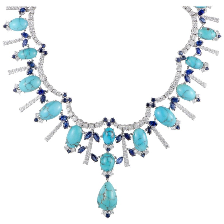 Turquoise Sapphire and Diamond Gold Collar Necklace For Sale