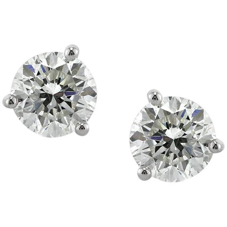 Mark Broumand 1.43ct Round Brilliant Cut Diamond Stud Earrings in 14k White Gold