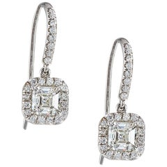 GIA Certified Asscher Cut Diamond Drop Earrings