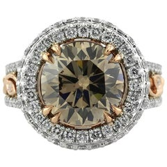 Mark Broumand 5.87 Carat Fancy Brown Round Brilliant Cut Diamond Engagement Ring