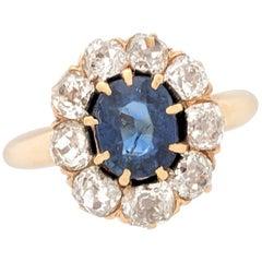 14 Karat Yellow Gold 2.35 Carat Sapphire and Diamond Estate Ring