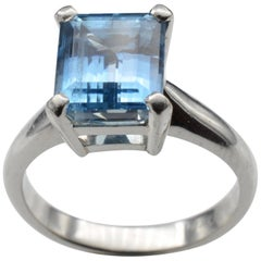 Deep Blue Aquamarine Solitaire Emerald Cut Platinum Ring