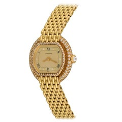 Cartier Ladies 18k Yellow Gold Manual Wind Wristwatch with Diamonds