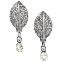 Alex Sepkus Platinum Leaf Diamond Briolet Earrings