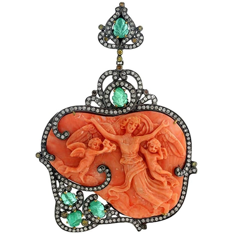 Gorgeous Carved Coral Pendant with Diamond and Emeralds