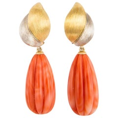 Henry Dunay Gold Platinum and Coral Drop Earrings
