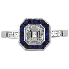 Mark Broumand 1.80 Carat Asscher Cut Diamond and Sapphire Engagement Ring