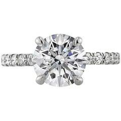 Mark Broumand 2.32 Carat Round Brilliant Cut Diamond Engagement Ring