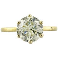 Mark Broumand 3.00 Carat Round Brilliant Cut Diamond Solitaire Engagement Ring