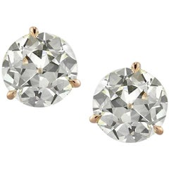 Mark Broumand 4.27 Carat Old European Cut Diamond Martini Stud Earrings