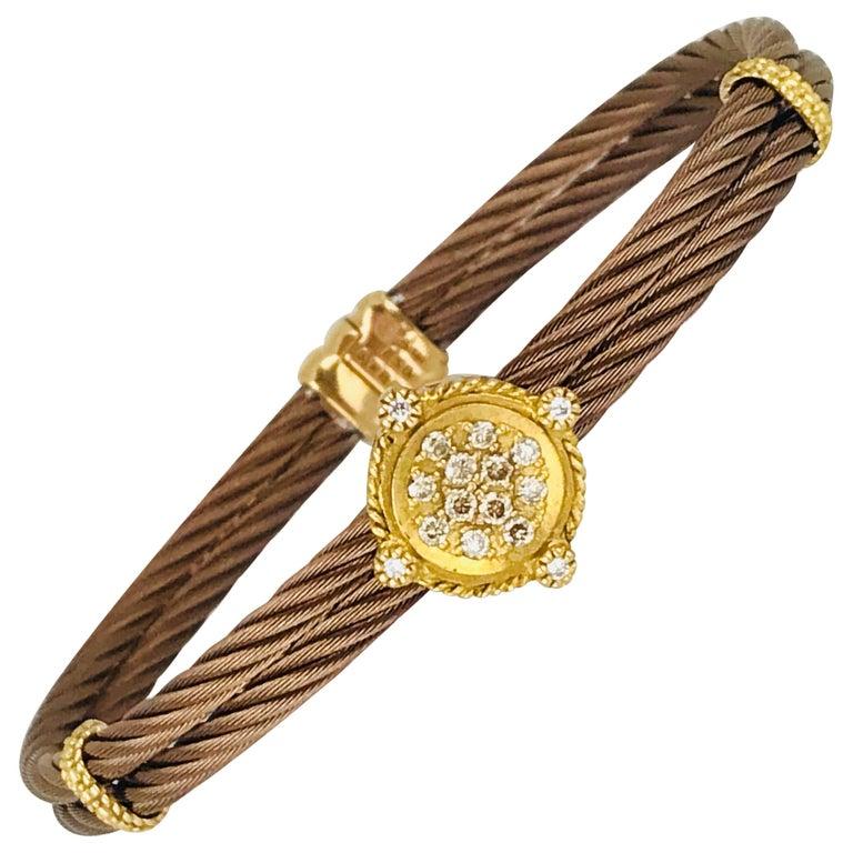 Phillipe Charriol Contemporary, Cable Bracelet 18 Karat, Diamond Bracelet