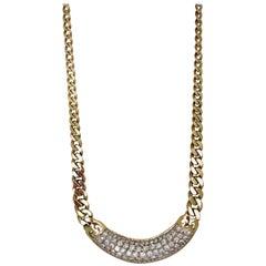 Retro, Pave 7 Carat Diamond Necklace, Cuban Gold Chain