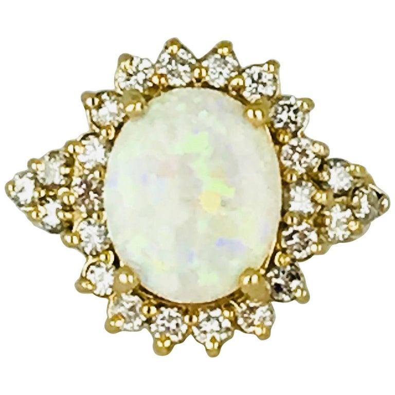 2 Carat Fire Opal, Halo 14 Karat Ring, Contemporary 1.50 Carat Diamonds