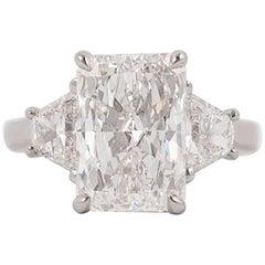 4.02 Carat GIA E VVS2 Radiant Diamond J. Birnbach Ring with Trapezoid diamonds