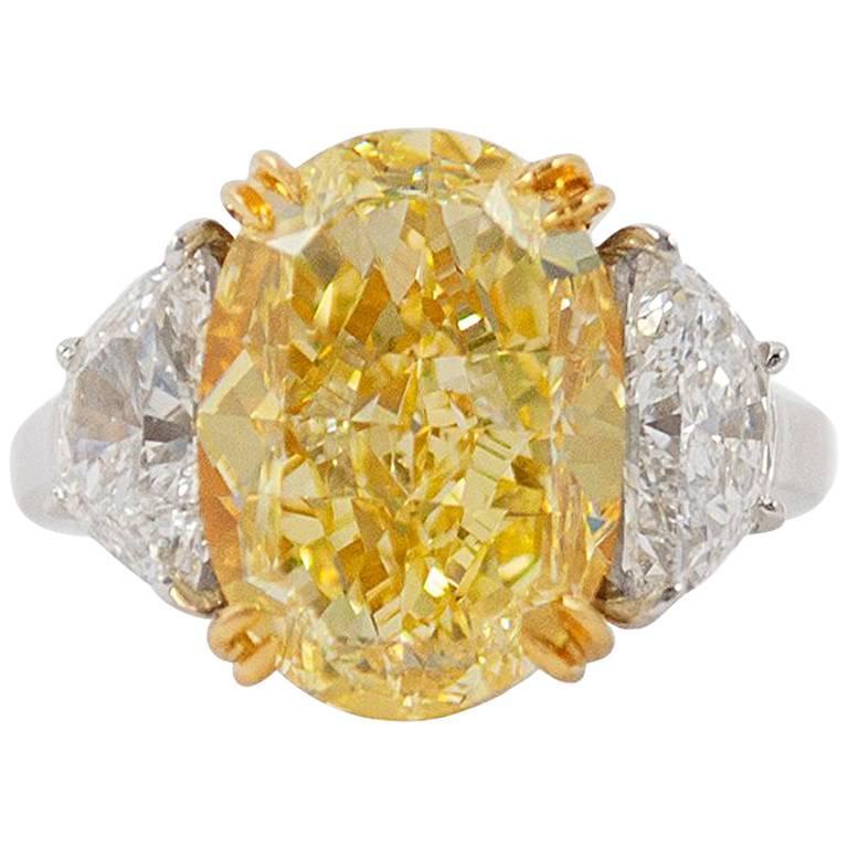 10.03 Carat GIA Certified J. Birnbach Fancy Yellow Oval Diamond Ring
