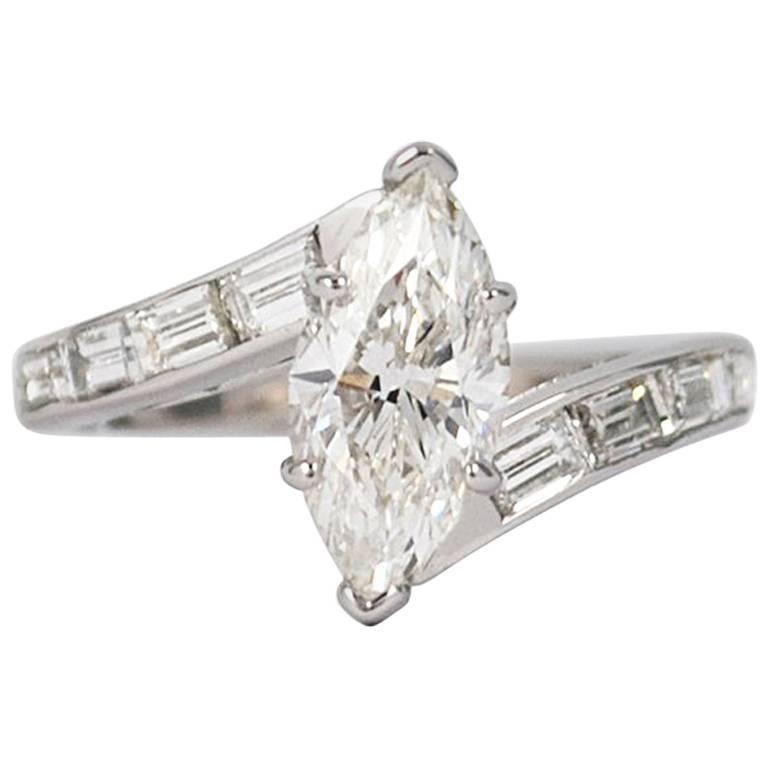 GIA Certified 1.51 Carat Marquise Diamond Ring