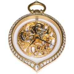 Girard Perregaux Diamond Gold Tear Drop Shape See through Pocket Watch Pendant
