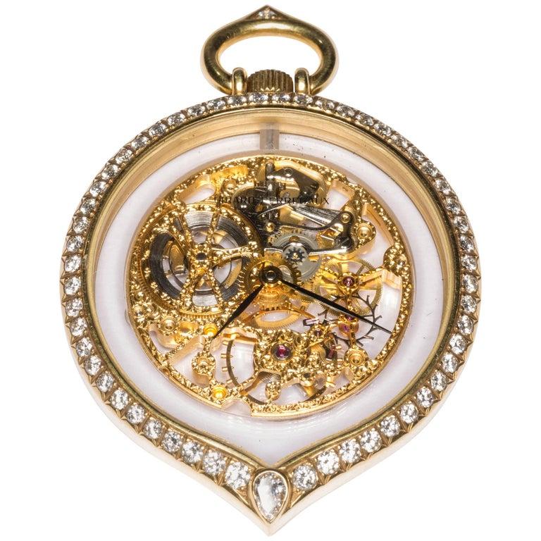 Girard Perregaux Diamond Gold Tear Drop Shape See through Pocket Watch Pendant
