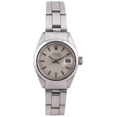 Rolex Ladies Stainless Steel Date Oyster Perpetual Self-Winding Wristwatch