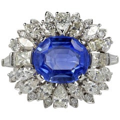 Large Natural No Heat Sapphire Diamond Platinum Cocktail Ring