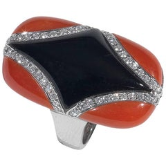 Onyx Coral Diamond Ring