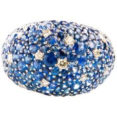 Diamond 0.34 Carat and Sapphire 6.52 Carat Ring in 18 Carat White Gold