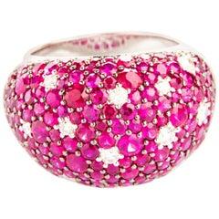 Diamond 0.42 Carat and Ruby 5.63 Carat Cocktail Ring in White Gold 18 Karat